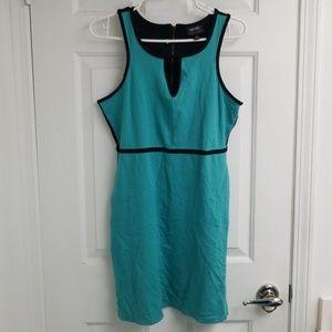 Nicole Miller turquoise blue dress black trim